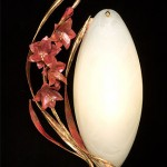Gladiola Sconce made of copper, bronze and glass.