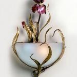 Custom Iris Sconce made of copper, bronze and glass