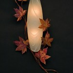 Custom Maple Leaf Sconce made of copper, bronze and glass