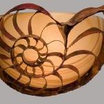 Custom Nautilus Sconce made of copper, bronze and glass