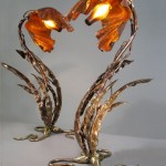 Pair of Custom Table Lamp made of copper and bronze.