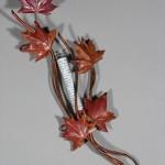 Copper red Maple Leaf Mezuzah.
