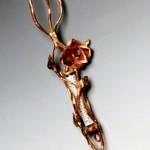 Copper and bronze Rose Mezuzah.