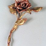 Rose Pin made from copper and bronze.