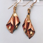 Double Lilly Earrings Made from Copper and bronze