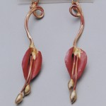 Long Leaf Earrings Made from Copper and bronze