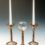 Open Spiral Candle Holder and Wine Goblet.