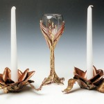 Copper and bronze Rose Candle Holder