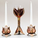 Custom copper and bronze Seed Pod Candle Holders and Goblet