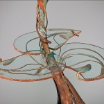 Table Lamp, copper and bronze by Rhonda Kap, Glass by Alisha Volotzky.