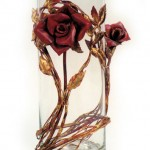 Two Copper Rose Flower Vase.