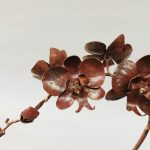 Copper and Bronze Welded Orchid Sculpture Close Up